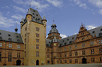 Schloss Johannisburg castle that overlooks the River Main. Interior courtyard,Aschaffenburg, Bavaria, Germany.