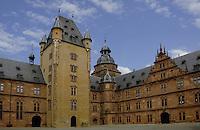 Schloss Johannisburg castle that overlooks the River Main. Interior courtyard,Aschaffenburg, Bavaria, Germany.
