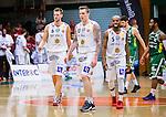 ****BETALBILD**** <br /> S&ouml;dert&auml;lje 2015-04-19 Basket SM-Final 1 S&ouml;dert&auml;lje Kings - Uppsala Basket :  <br /> Uppsalas  Axel Nordstr&ouml;m , Johan Jeansson och Thomas Jackson deppar under matchen mellan S&ouml;dert&auml;lje Kings och Uppsala Basket <br /> (Foto: Kenta J&ouml;nsson) Nyckelord:  S&ouml;dert&auml;lje Kings SBBK T&auml;ljehallen Basketligan SM SM-Final Final Uppsala Basket depp besviken besvikelse sorg ledsen deppig nedst&auml;md uppgiven sad disappointment disappointed dejected