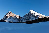 Italy, South Tyrol, Alto Adige, Dolomites, Santa Cristina Valgardena: at Alpe di Siusi with Sasso Lungo and Sasso Piatto mountains | Italien, Suedtirol, Dolomiten, Seiseralm mit Langkofel und Plattkofel.