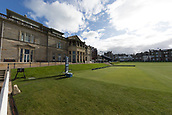 2nd October 2017, The Old Course, St Andrews, Scotland; Alfred Dunhill Links Championship golf practice round; The first tee and R&A club house, Old Course, St Andrews