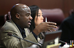 Nevada Sen. Kelvin Atkinson, D-North Las Vegas, works in committee at the Legislative Building in Carson City, Nev., on Friday, May 10, 2013..Photo by Cathleen Allison