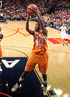 CHARLOTTESVILLE, VA- NOVEMBER 20: Shekinna Stricklen #40 of the Tennessee Lady Volunteers grabs a rebound during the game on November 20, 2011 against the Virginia Cavaliers at the John Paul Jones Arena in Charlottesville, Virginia. Virginia defeated Tennessee in overtime 69-64. (Photo by Andrew Shurtleff/Getty Images) *** Local Caption *** Shekinna Stricklen