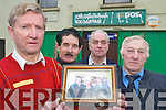 Friends of Denis P OSullivan who gathered on Wednesday to express their outrage after his shop was broken into on Sunday night. L-r: Tom Randles, John Egan, Dan Lynch and postman Dan Healy.