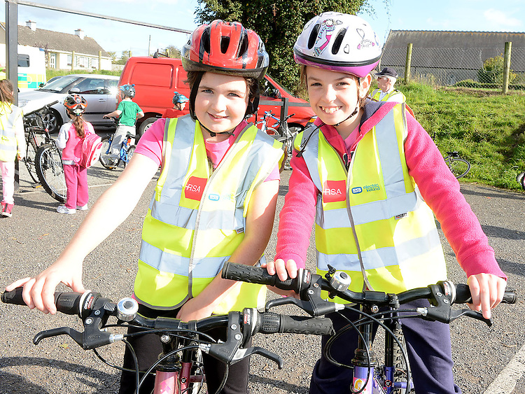 Ciara Mimna and Orlaith Quinn who took part in the charity cycle to raise funds towards the new primary school in Duleek. Photo:Colin Bell/pressphotos.ie