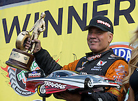 May 11, 2013; Commerce, GA, USA: NHRA funny car driver Johnny Gray celebrates after winning the Southern Nationals at Atlanta Dragway. Mandatory Credit: Mark J. Rebilas-