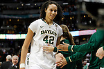 01 APRIL 2012:  Brittney Griner (42) of Baylor University starts to celebrate with her teammates after defeating Stanford University during the Division I Women's Final Four semifinals at the Pepsi Center in Denver, CO.  Baylor defeated Stanford 59-47 to advance to the championship final.  Jamie Schwaberow/NCAA Photos