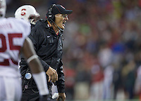 SEATTLE, WA - September 28, 2013: Stanford defensive line coach yells to his team during play against Washington State at CenturyLink Field. Stanford won 55-17