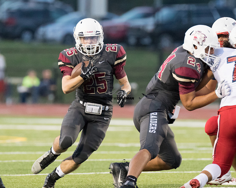 Rouse Raiders senior running back Trevor Provencher (25) carries the ball during a high school football game between the Rouse Raiders and the East View Patriots at A.C. Bible Stadium in Leander, Texas, on Friday, September 15, 2017.