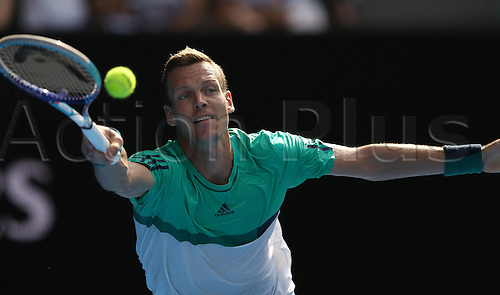 26.01.2016. Melbourne Park, Melbourne, Australia. Australian Open Tennis Championships.   Tomas Berdych of the Czech Republic competes against Roger Federer of Switzerland during the quarterfinal of mens singles at the Australian Open Tennis Championships in Melbourne, Australia, Jan. 26, 2016. Roger Federer won the match 7-6, 6-2, 6-4.