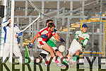 Brendan O'Keeffe Rathmore shot is brilliantly stopped by Legion Brian Kelly and Eoin O'Carroll during the O'Donoghue Cup final in Fitzgerald Stadium on Sunday