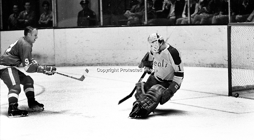 Detroit Red Wing star Gordie Howe fires a goal past California Golden Seal goalie Gary Smith. (1971 photo by Ron Riesterer)