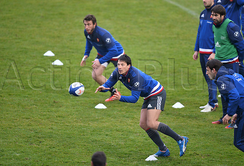 23.02.2016. CNR Marcoussis, Paris, France. The French nationaol rugby team at practise before their 6 Nations game against Wales on 25th February 2016.  Francois Trinh Duc (fra) and Maxime Medard (fra)