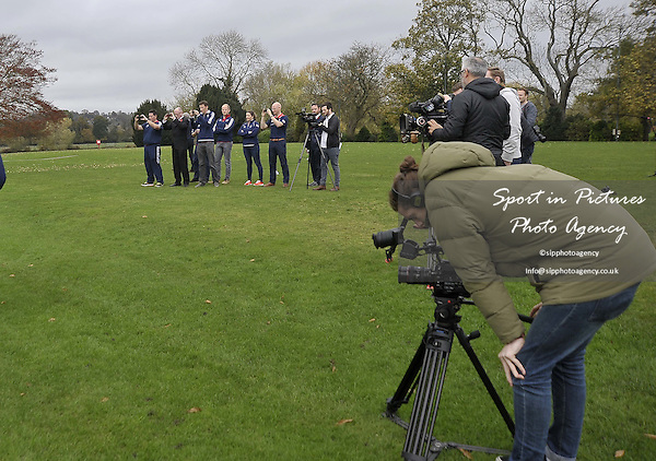 The press. TeamGB announcement of shooting athletes for Rio 2016 Olympics. Bisham Abbey. Marlow. Buckinghamshire. England. UK. 10/11/2015. MANDATORY Credit Garry Bowden/SIPPA - NO UNAUTHORISED USE - 07837 394578