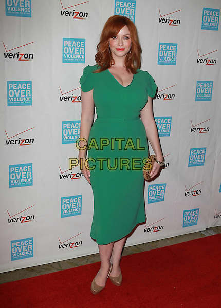 Christina Hendricks.41st Annual Peace Over Violence Humanitarian Awards Held At The Beverly Hills Hotel, Beverly Hills, California, USA, 26th October 2012..full length green dress cleavage gold shoes clutch bag .CAP/ADM/KB.©Kevan Brooks/AdMedia/Capital Pictures.