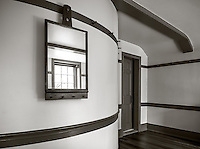 Shaker Village at Pleasant Hill, Kentucky:<br /> Upstairs room with curved wall in the trustee house in the Shaker Village