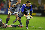 aaron Smith clears the ball to the backline. The game of Three Halves, a pre-season warm-up game between the Counties Manukau Steelers, Northland and the All Blacks, played at ECOLight Stadium, Pukekohe, on Friday August 12th 2016. Photo by Richard Spranger.
