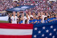 PASADENA, CA - AUGUST 4: The USWNT stands during the national anthem during a game between Ireland and USWNT at Rose Bowl on August 3, 2019 in Pasadena, California.