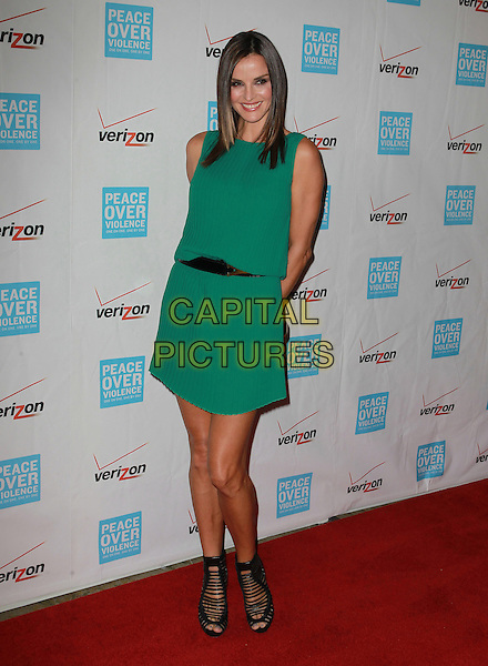 Ana Alexander.41st Annual Peace Over Violence Humanitarian Awards Held At The Beverly Hills Hotel, Beverly Hills, California, USA, 26th October 2012..full length green dress sleeveless black shoes strappy peep toe .CAP/ADM/KB.©Kevan Brooks/AdMedia/Capital Pictures.