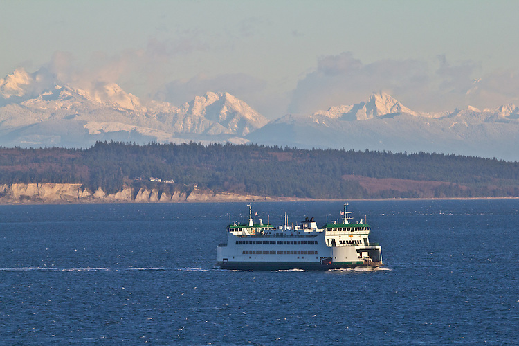 Port Townsend, Washington State Ferry, Puget Sound, Cascade Mountains, winter, Jefferson County, Pacific Northwest, Olympic Peninsula, Washington State,