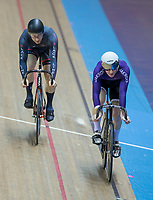 25th January 2020; National Cycling Centre, Manchester, Lancashire, England; HSBC British Cycling Track Championships; Men's sprint semi final 1 - Hamish Turnbull (Purple right) takes the first heat from Matthew Roper (L)