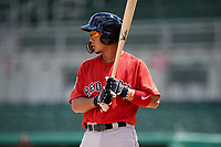 Boston Red Sox catcher Justin Qiangba (25) at bat during a Florida Instructional League game against the Baltimore Orioles on September 21, 2018 at JetBlue Park in Fort Myers, Florida.  (Mike Janes/Four Seam Images)