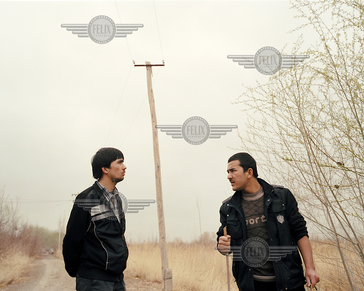 Two Uighur (Uyghur) boys hang about in dusty corn fields outside Artux city.