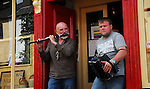 Matt Molloy and David Munnelly getting things warmed up ahead of the Connaught Fleadh in Westport 2008...Pic Conor McKeown