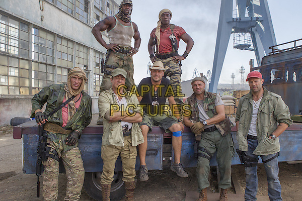 Dolph Lundgren, Sylvester Stallone, Terry Crews, Patrick Hughes (Director), Wesley Snipes, Randy Couture, Jason Statham<br /> on the set of The Expendables 3 (2014) <br /> *Filmstill - Editorial Use Only*<br /> CAP/NFS<br /> Image supplied by Capital Pictures