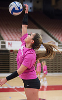 NWA Democrat-Gazette/BEN GOFF @NWABENGOFF<br /> Okiana Valle, Arkansas senior libero, hits Wednesday, Nov. 7, 2018, during practice in Barnhill Arena.