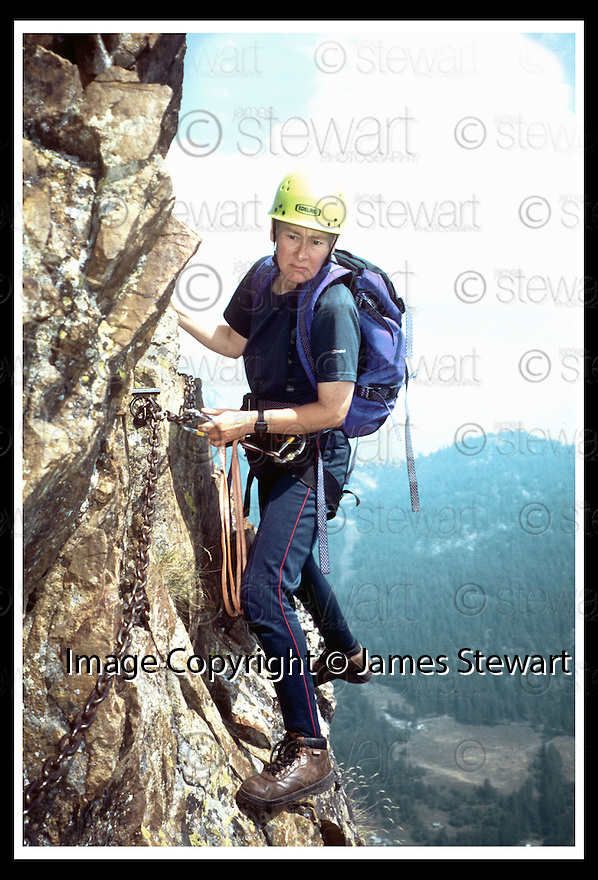 15/05/2008   Collect Pic: James Stewart.File Name : sct_jspa14_climbing.LADIES SCOTTISH CLIMBING CLUB MEMBER MARY VOLUME ON AIGUILLE NOIRE HUT, MONT BLANC, 2005..(See copy from George Mair / Tim Bugler).....James Stewart Photo Agency 19 Carronlea Drive, Falkirk. FK2 8DN      Vat Reg No. 607 6932 25.Studio      : +44 (0)1324 611191 .Mobile      : +44 (0)7721 416997.E-mail  :  jim@jspa.co.uk.If you require further information then contact Jim Stewart on any of the numbers above........