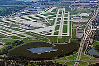 aerial view above Minneapolis Saint Paul Wold Chamberlain international airport KMSP