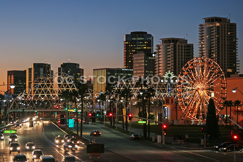 Downtown Long Beach on Pine and Ocean Ave at Sunset