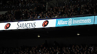20131018 Copyright onEdition 2013©<br /> Free for editorial use image, please credit: onEdition<br /> <br /> Allianz branding during the Heineken Cup match between Saracens and Stade Toulousain at Wembley Stadium on Friday 18th October 2013 (Photo by Rob Munro)<br /> <br /> For press contacts contact: Sam Feasey at brandRapport on M: +44 (0)7717 757114 E: SFeasey@brand-rapport.com<br /> <br /> If you require a higher resolution image or you have any other onEdition photographic enquiries, please contact onEdition on 0845 900 2 900 or email info@onEdition.com<br /> This image is copyright onEdition 2013©.<br /> This image has been supplied by onEdition and must be credited onEdition. The author is asserting his full Moral rights in relation to the publication of this image. Rights for onward transmission of any image or file is not granted or implied. Changing or deleting Copyright information is illegal as specified in the Copyright, Design and Patents Act 1988. If you are in any way unsure of your right to publish this image please contact onEdition on 0845 900 2 900 or email info@onEdition.com