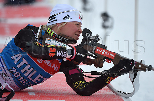 04.03.2016. Holmenkollen, Oslo, Norway.  Female Biathlete Miriam Goessner of Germany in shooting action during a training session at the Biathlon World Championships, in the Holmenkollen Ski Arena, Oslo, Norway, 04 March 2016.