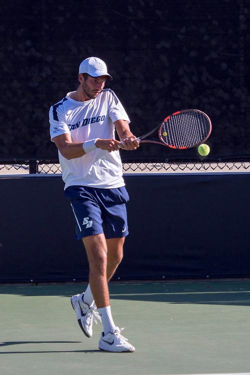 April 29, 2017; Claremont, CA, USA; San Diego Toreros player Alex Araouzos during the WCC Tennis Championships at Biszantz Family Tennis Center.