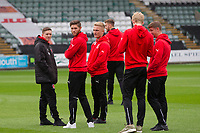 Fleetwood players inspect the pitch ahead of the Sky Bet League 1 match between Plymouth Argyle and Fleetwood Town at Home Park, Plymouth, England on 7 October 2017. Photo by Mark  Hawkins / PRiME Media Images.