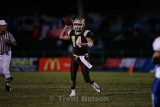 Davis quarterback Gavin Fowler. Davis defeats Pleasant Grove 17-9 in high school football playoff action, Friday, November 6 2009 in Kaysville.