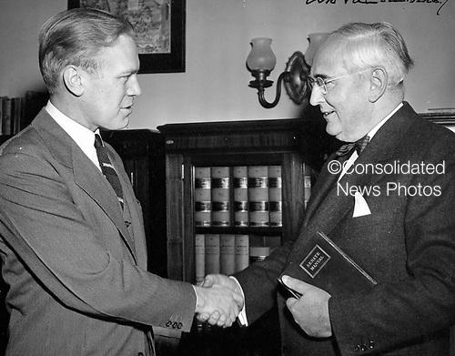 Ann Arbor, MI - FILE --  United States Senator Arthur Vandenberg (Republican of Michigan) welcomes new Congressman Gerald R. Ford Jr. (Republican of Michigan), to Washington DC.  Date: 1949<br /> Credit: Courtesy Gerald R. Ford Library via CNP