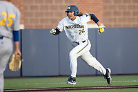 Michigan Wolverines outfielder Jordan Brewer (22) sprints home against the San Jose State Spartans on March 27, 2019 in Game 2 of the NCAA baseball doubleheader at Ray Fisher Stadium in Ann Arbor, Michigan. Michigan defeated San Jose State 3-0. (Andrew Woolley/Four Seam Images)
