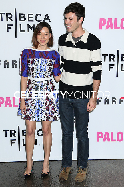 "LOS ANGELES, CA, USA - MAY 05: Aubrey Plaza, Blake Lee at the Los Angeles Premiere Of Tribeca Film's ""Palo Alto"" held at the Directors Guild of America on May 5, 2014 in Los Angeles, California, United States. (Photo by Celebrity Monitor)"