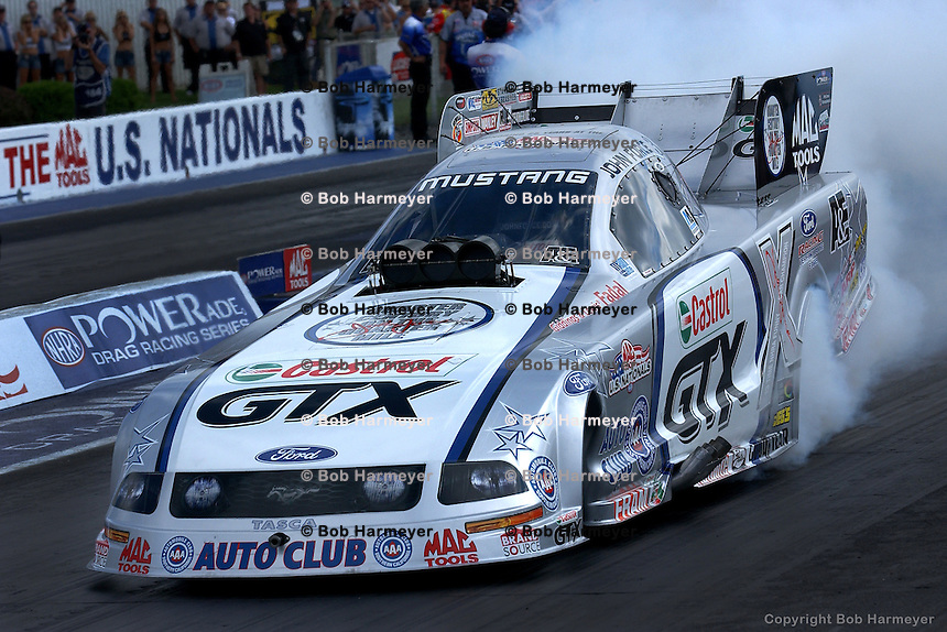 INDIANAPOLIS, IN - SEPTEMBER 4: John Force drives his Funny Car during the NHRA Mac Tools US Nationals on September 4, 2006, at O'Reilly Raceway Park near Indianapolis, Indiana.