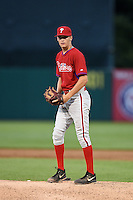 Jason Bilous (5) of Caravel Academy in Wilmington, Delaware playing for the Philadelphia Phillies scout team during the East Coast Pro Showcase on July 31, 2014 at NBT Bank Stadium in Syracuse, New York.  (Mike Janes/Four Seam Images)
