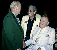 Winston-Salem, North Carolina, USA, May 31,1991<br /> Bob Hope and Former President Gerald R. Ford sit in a golf cart while greeting fans and guests at the annual Bill Crosby Clambake Golf Tournament at the Bermuda Run Country Club. Credit: Mark Reinstein/MediaPunch