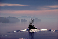 Commercial Fishing Boat leaving Ganges Harbour at Sunrise, Saltspring (Salt Spring) Island, Southern Gulf Islands, BC, British Columbia, Canada
