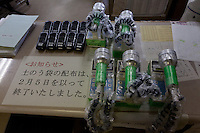 Geiger counters on the desk of the Nahara city office for use by those involved in the decontamination efforts. Nahara, Fukushima, Japan. Tuesday April 30th 2013
