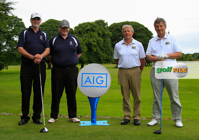 Val Jennings &amp; Michael McHugh (Castlebar) and Paddy Dunleavey &amp; Jack Ruane (Enniscrone) on the 1st tee during the AIG Connacht Pierce Purcell Shield Semi-Finals of the AIG Connacht Cups &amp; Shields Finals 2016 at Ballinrobe Golf Club, Ballinrobe Co. Mayo on Saturday 6th August 2016.<br /> Picture:  Golffile | Thos Caffrey<br /> <br /> All photos usage must carry mandatory copyright credit   (&copy; Golffile | Thos Caffrey)