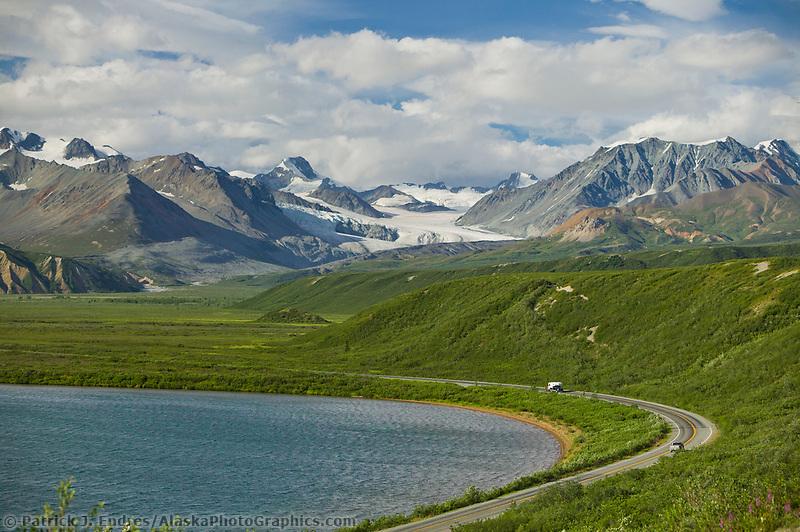 Summit Lake, along the Richardson Highway in isabel pass, gulkana glacier in the distance, Alaska mountain range.