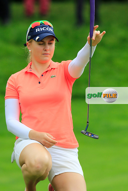 Charley Hull (ENG) lines up her putt on the 8th green during Saturday's Round 3 of The 2016 Evian Championship held at Evian Resort Golf Club, Evian-les-Bains, France. 17th September 2016.<br /> Picture: Eoin Clarke | Golffile<br /> <br /> <br /> All photos usage must carry mandatory copyright credit (&copy; Golffile | Eoin Clarke)