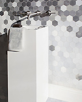 Huxley Grand, a waterjet cut stone mosaic, shown in Oleander Basalto with brushed and velvet finish Aluminum, is part of the Bright Young Things™ collection by New Ravenna.